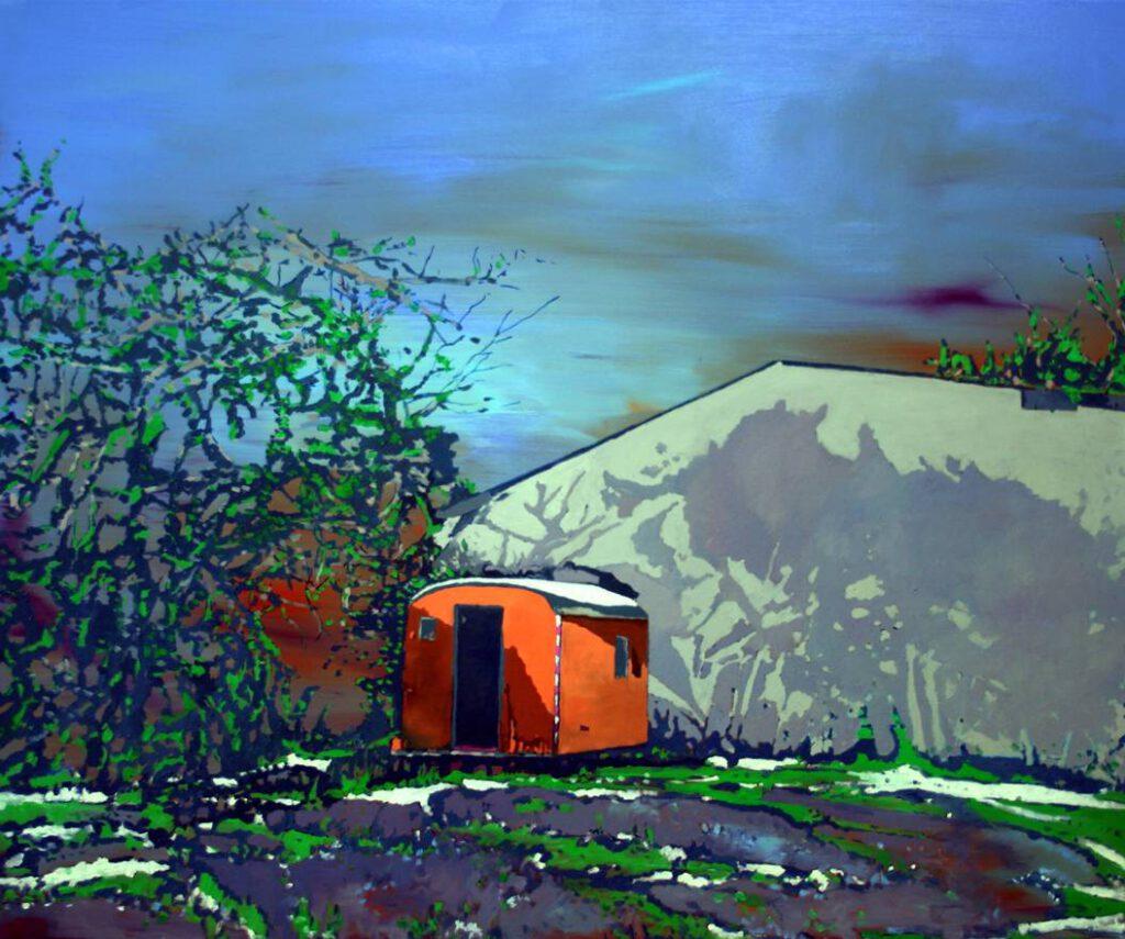 <h2>Bauwagen</h2><p>Öl auf Leinwand <span>&nbsp;|&nbsp;</span>100 x 120 cm <span>&nbsp;|&nbsp;</span>2013</p>