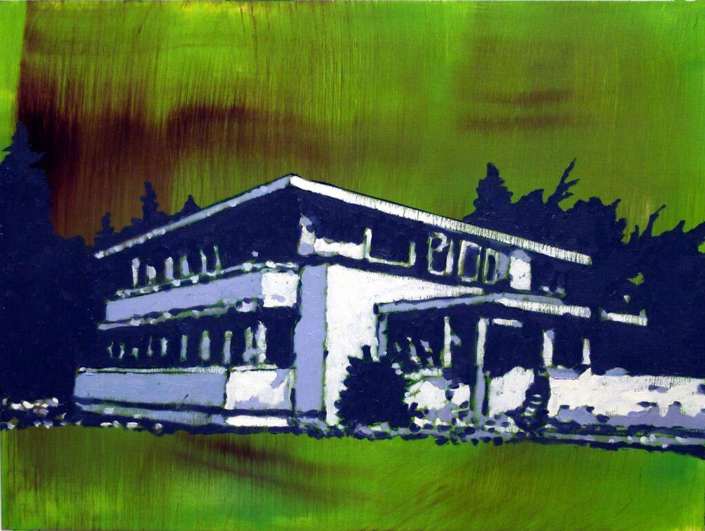 <h2>Villa (Silver Green)</h2><p>Öl auf Papier <span>|</span>29,9 x 39,9 cm <span>|</span>2019</p>
